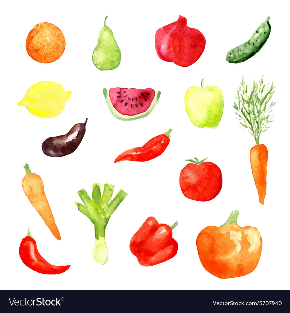 Watercolor fruit and vegetable icons vector