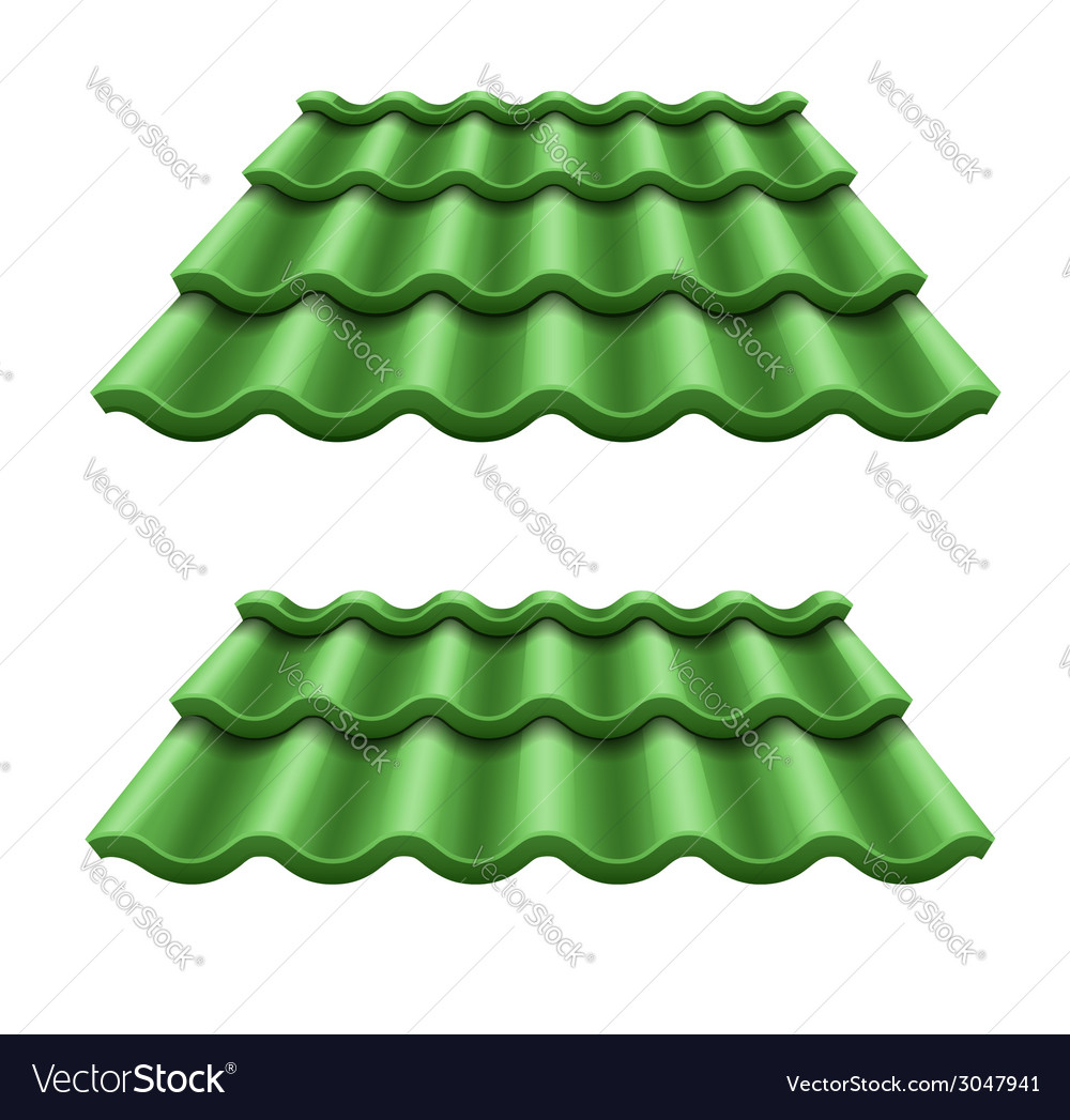 Green corrugated tile element vector