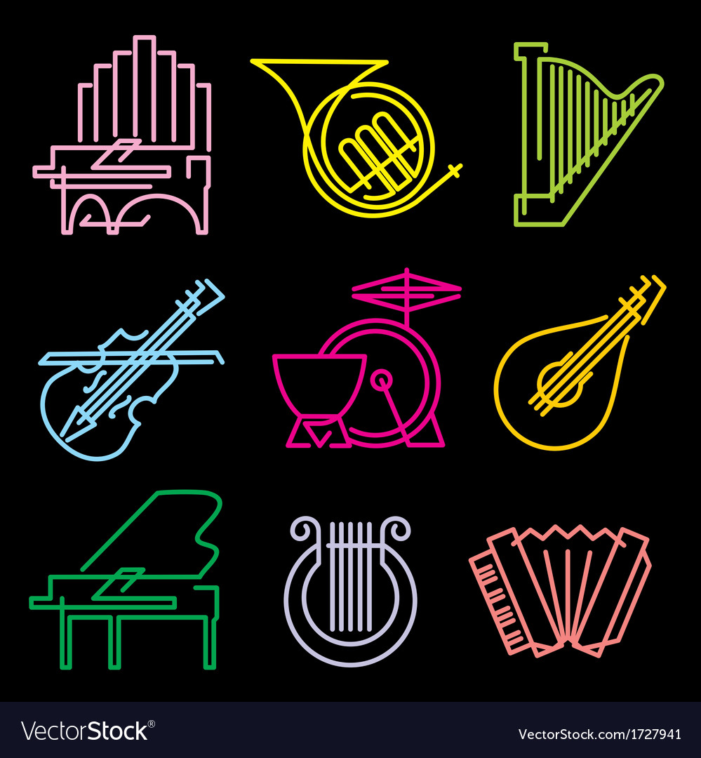 Symbols musical instruments vector