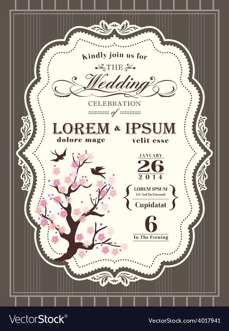 Vintage cherry blossom wedding invitation card vector