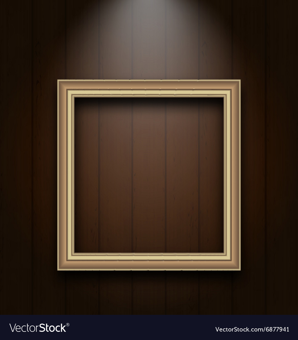 Vintage picture frame on wooden wall vector