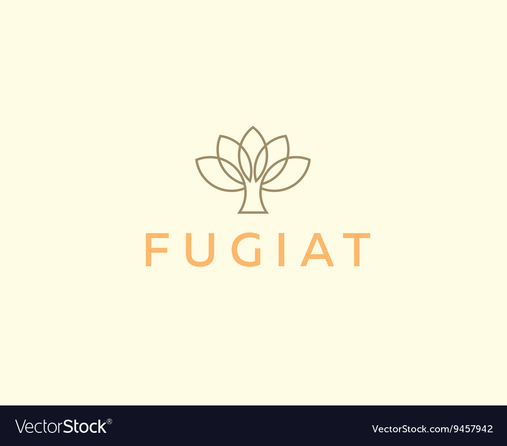 Abstract elegant tree flower line logo icon design vector