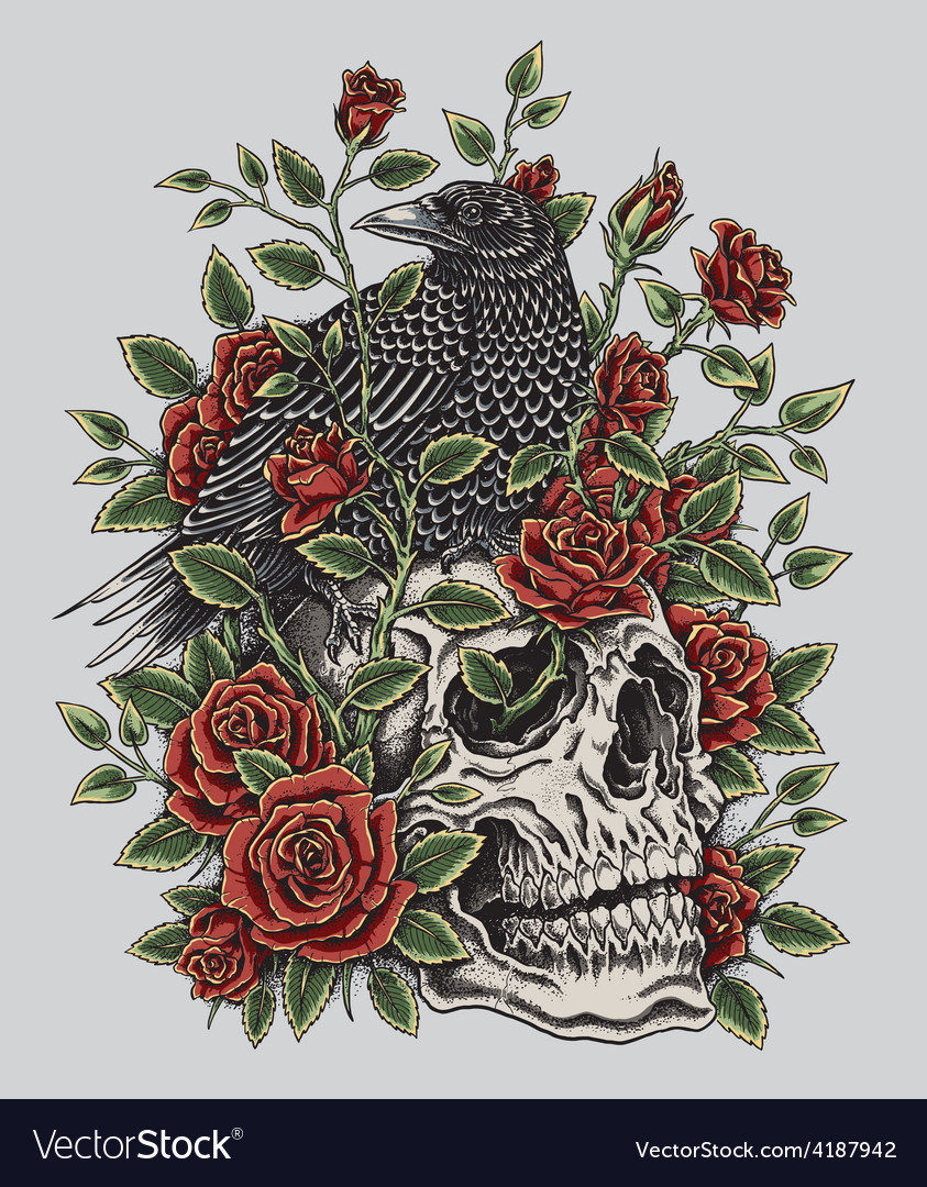 Crow roses and skull tattoo design vector