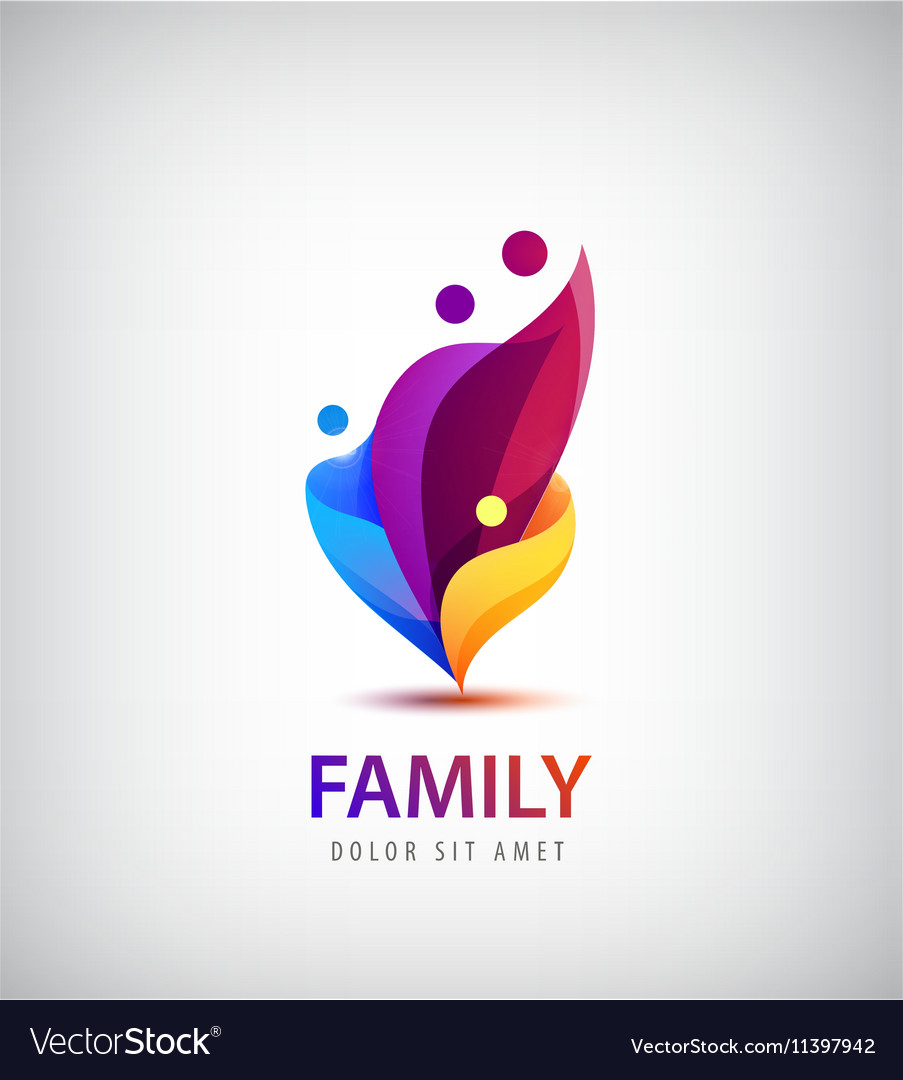 Family with kids 4 people group logo vector