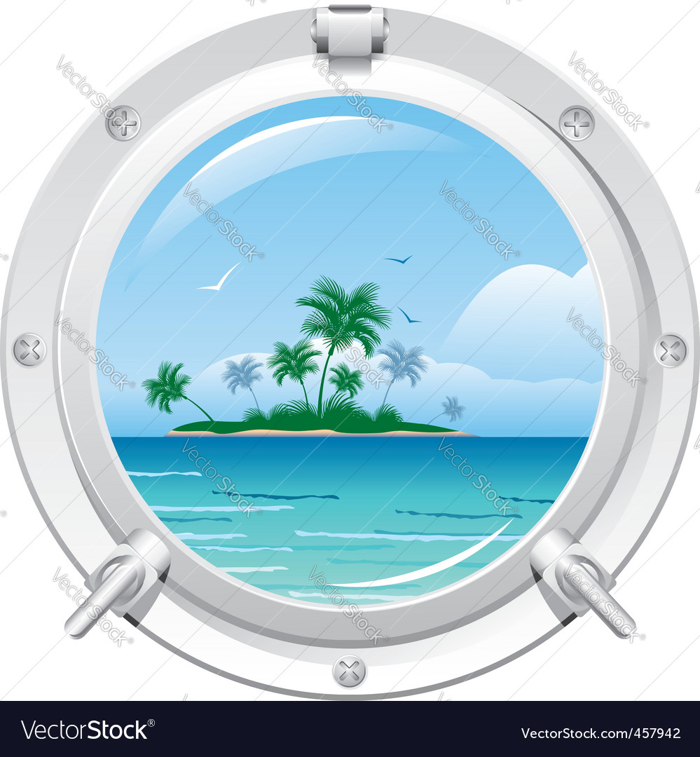Porthole with sea view vector