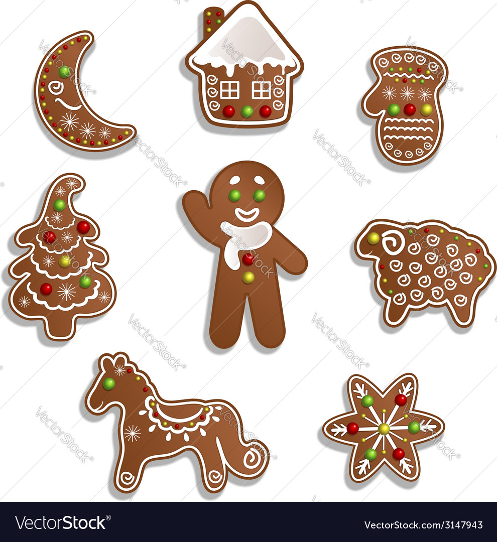 Christmas gingerbread vector