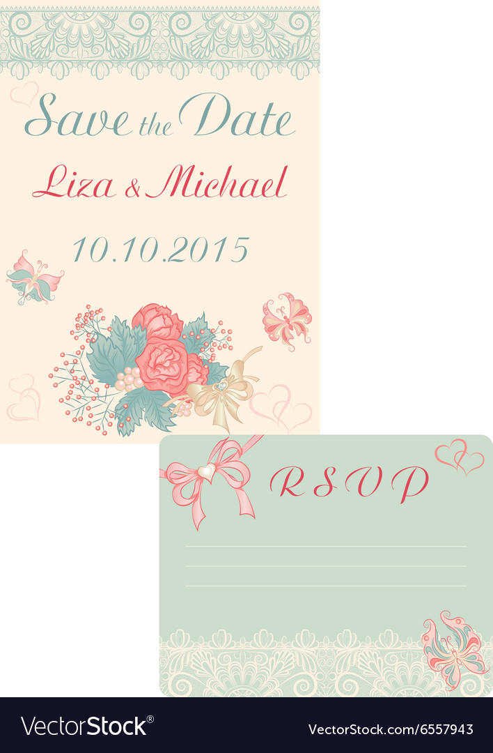 Design in retrostyle cards save the date and rsvp vector