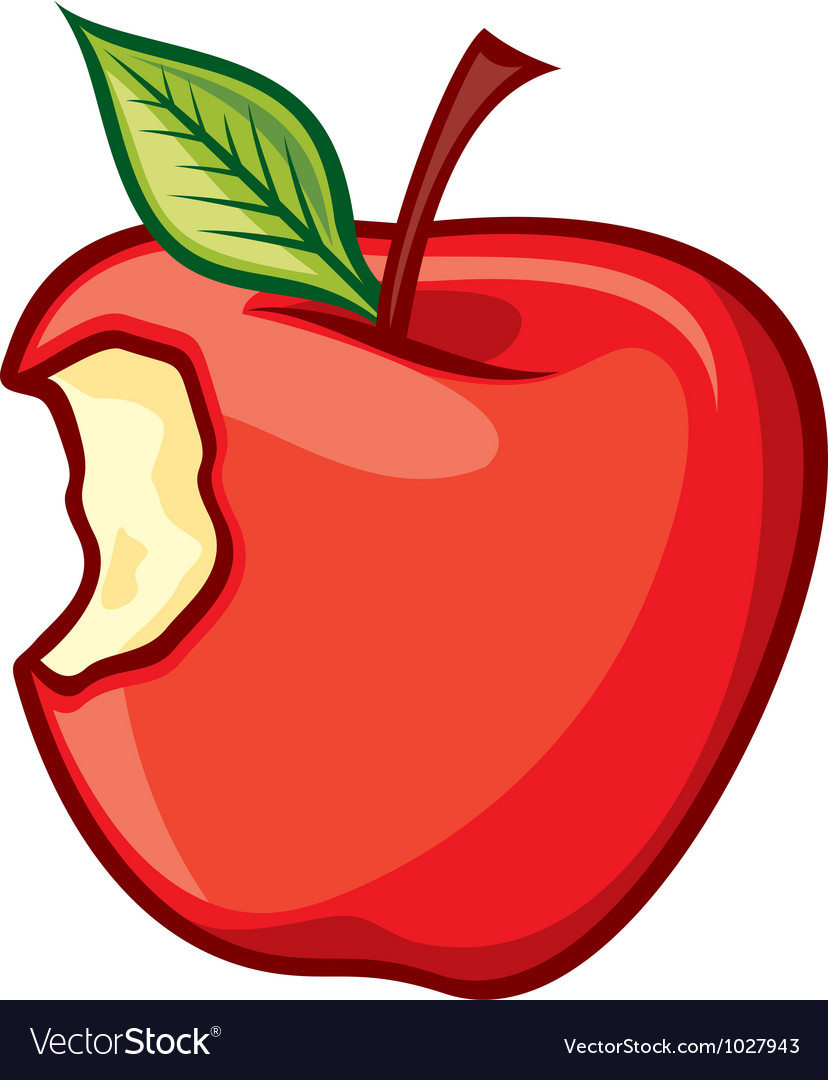 Red bitten apple vector