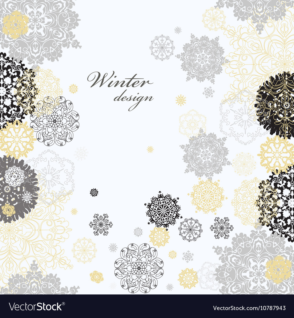 Winter design with silver white snowflakes vector