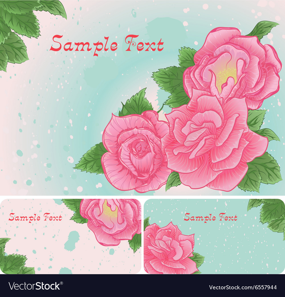 Set of floral card with pink roses vector