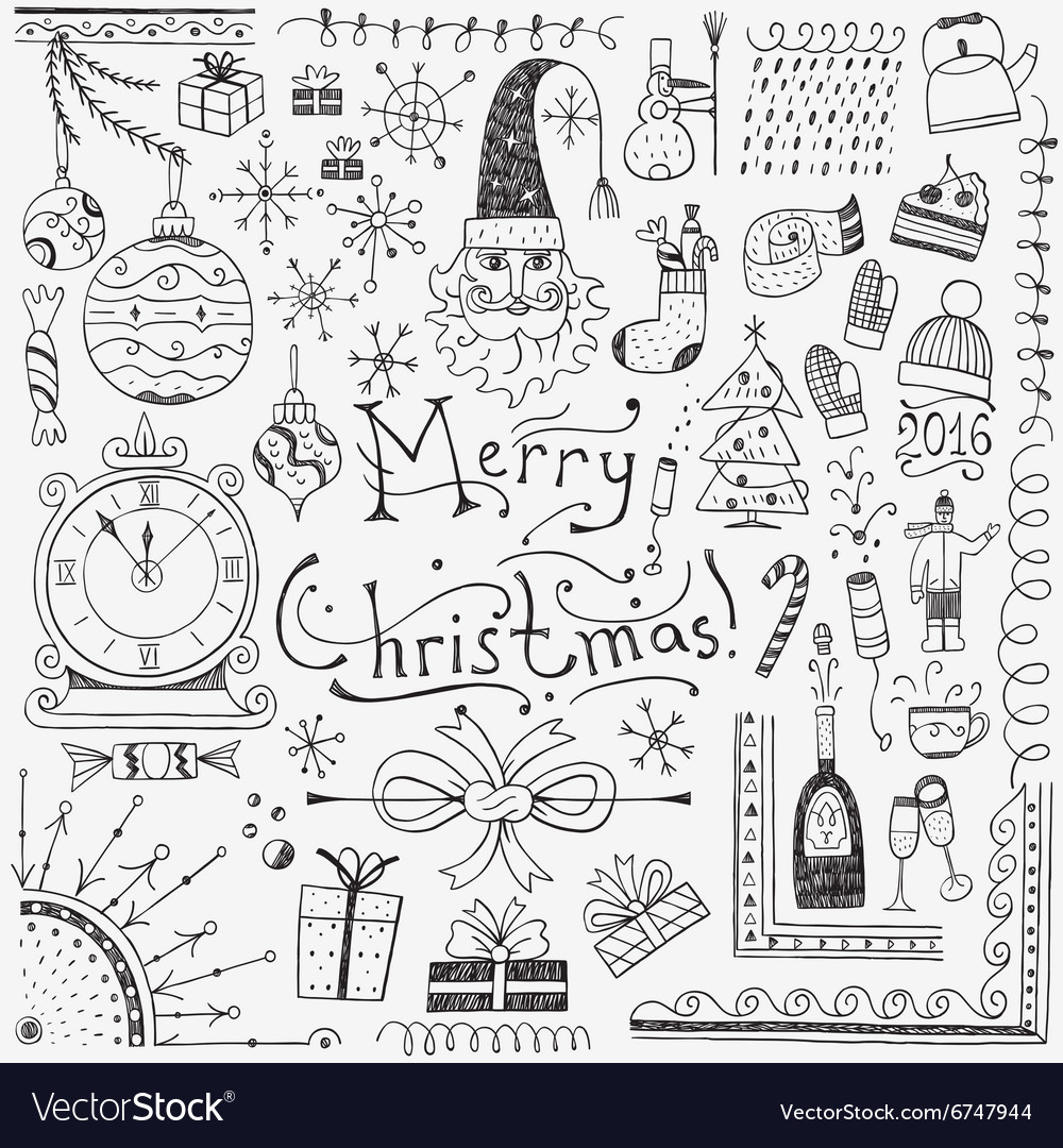 Winter holidays  doodles set 3 vector