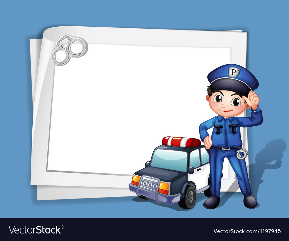 A policeman beside a police car vector