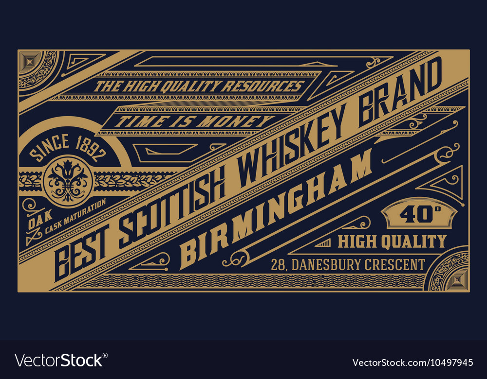 Old label design for whiskey vector