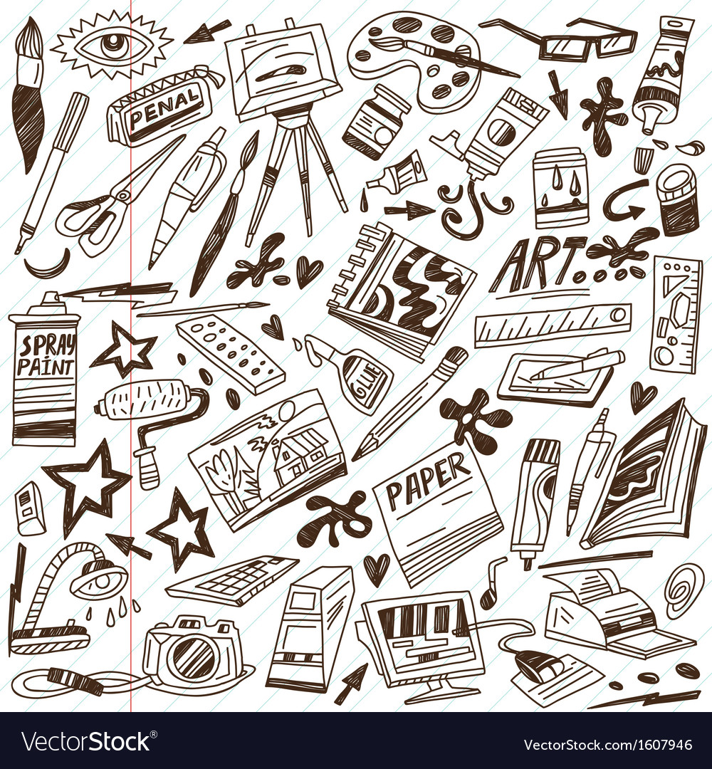 Art tools  doodles vector