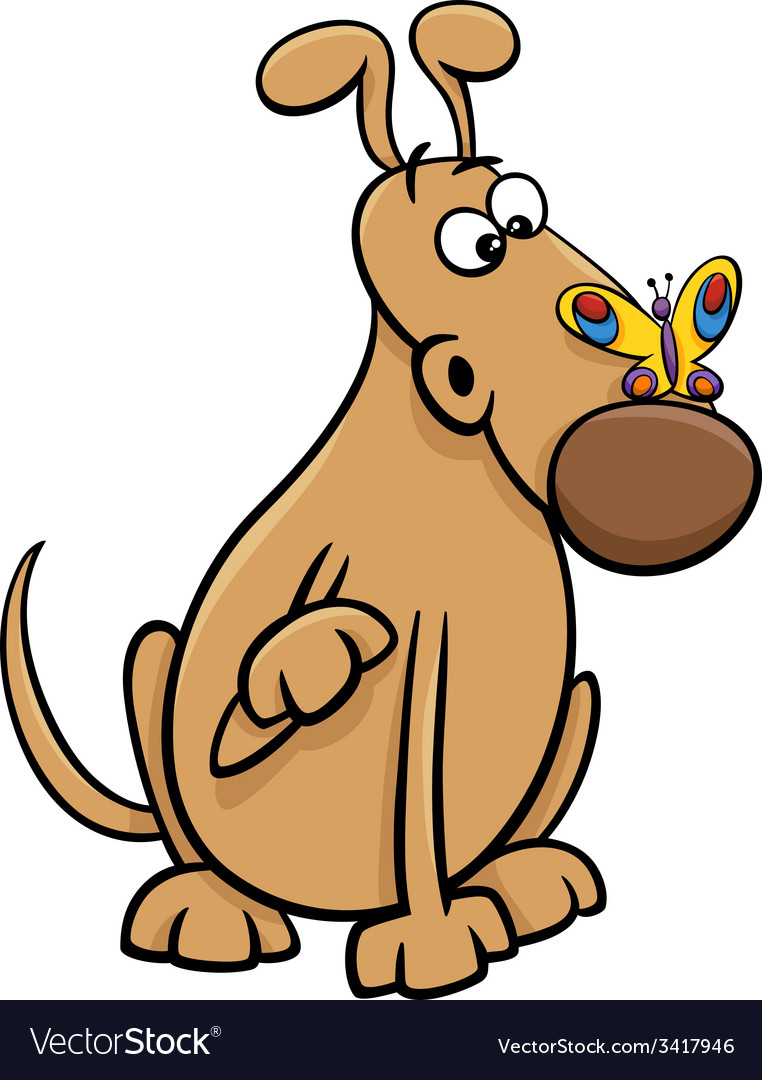 Dog with butterfly cartoon vector