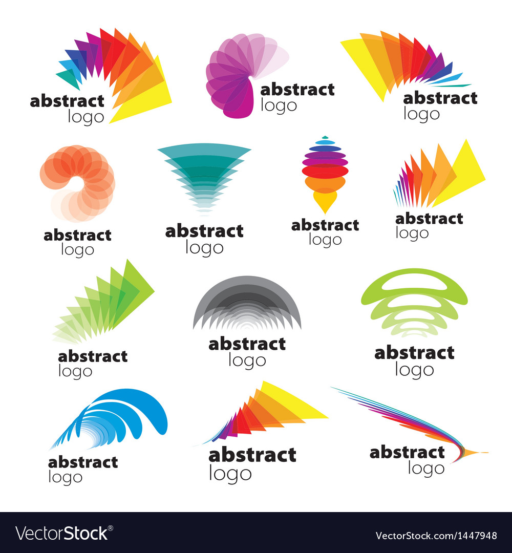 Collection of abstract logos range vector