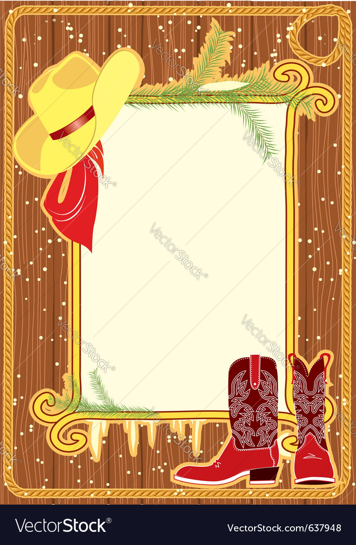 Cowboy hat and boots vector