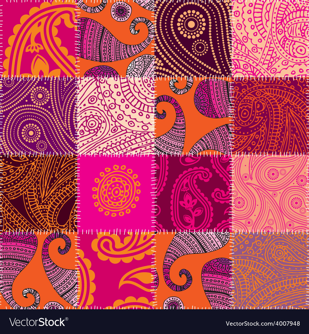 Imitation of quilting design in indian style with vector
