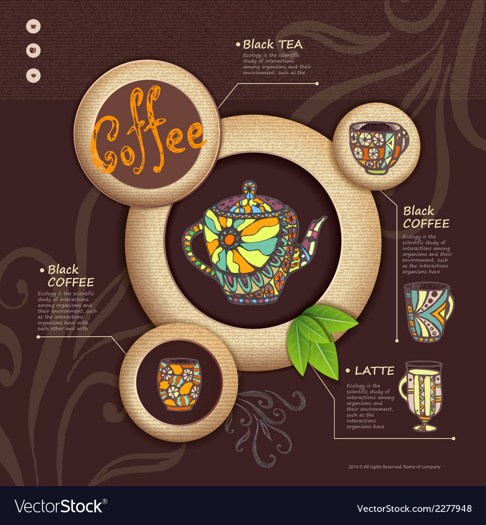 Web site design decorative cup of coffee vector