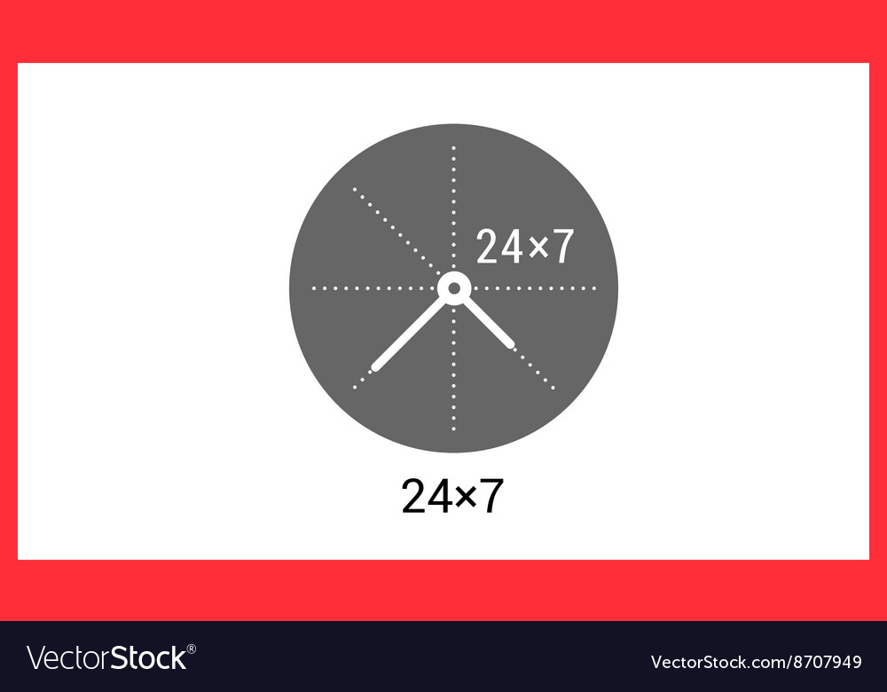 Around clock linear pictogram vector