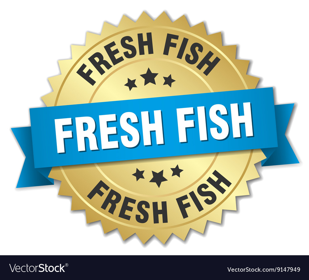 Fresh fish 3d gold badge with blue ribbon vector