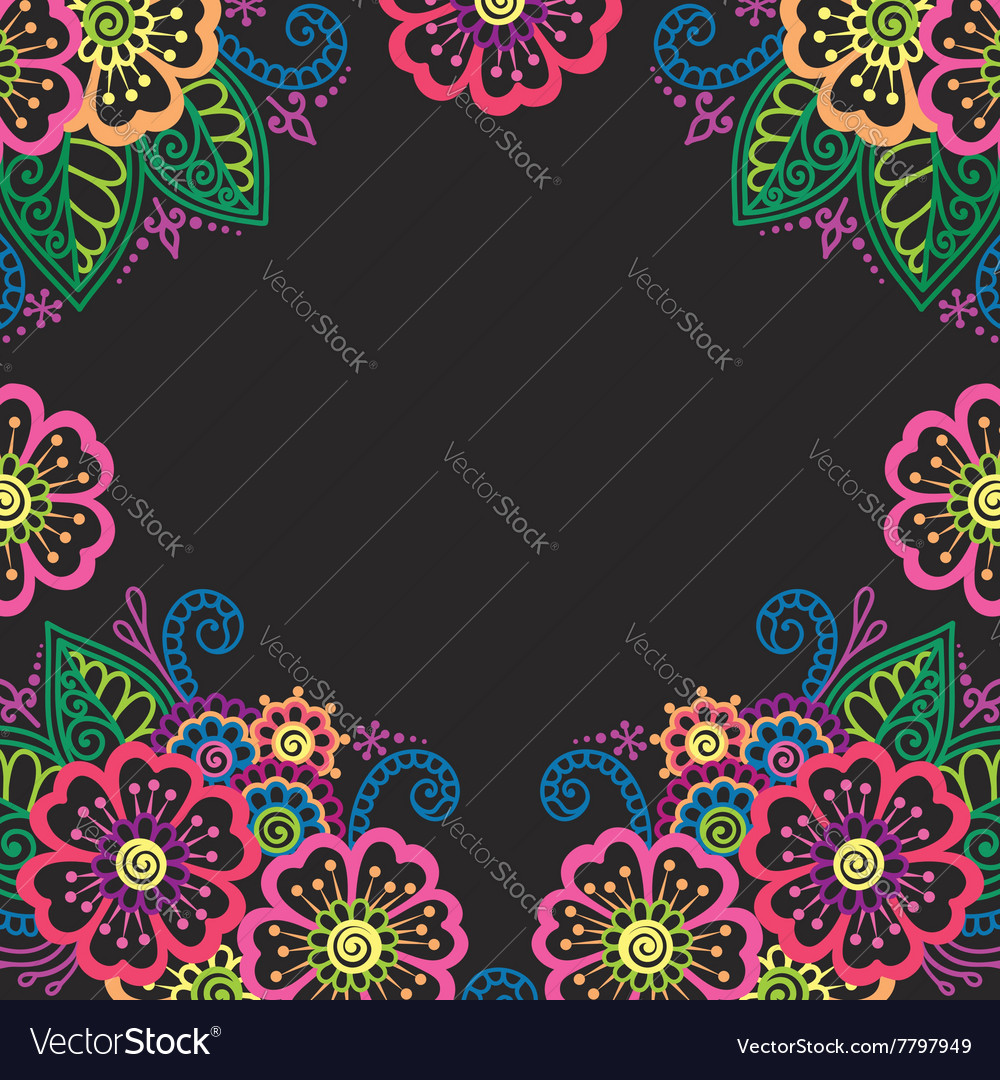 Henna flower ornament frame vector