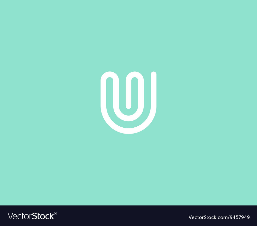 Line letter u logotype abstract moving airy logo vector