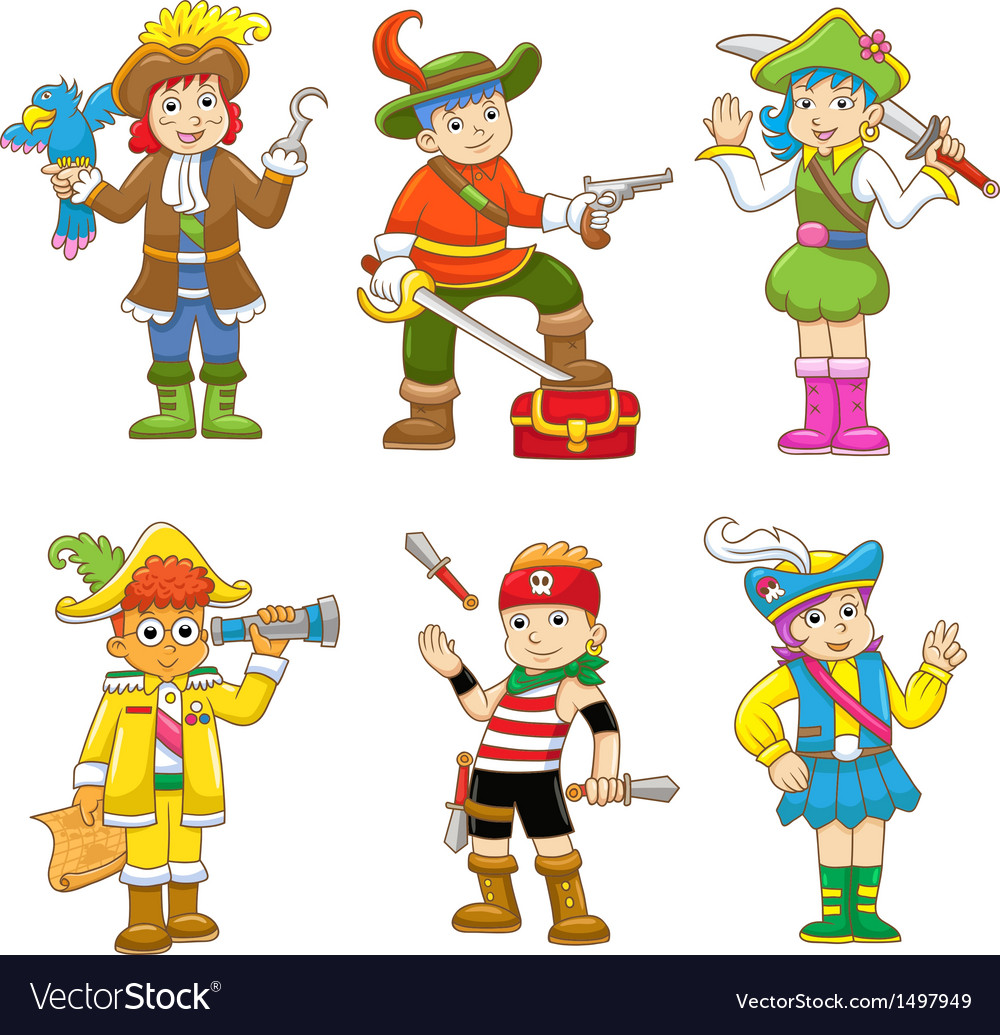Set of pirate child cartoon vector
