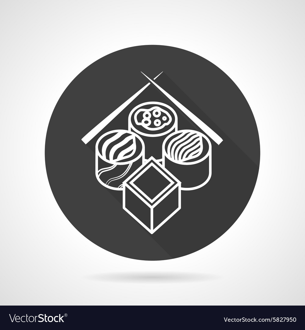 Sushi black round icon vector