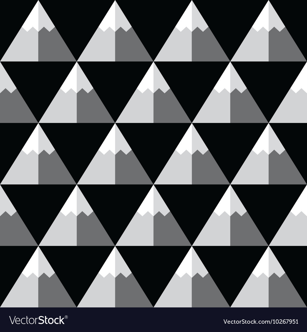 Geometric monochrome seamless mountain pattern vector