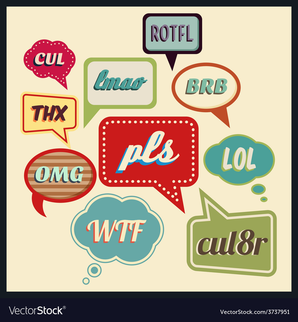 Speech bubbles with frequently used abbreviations vector