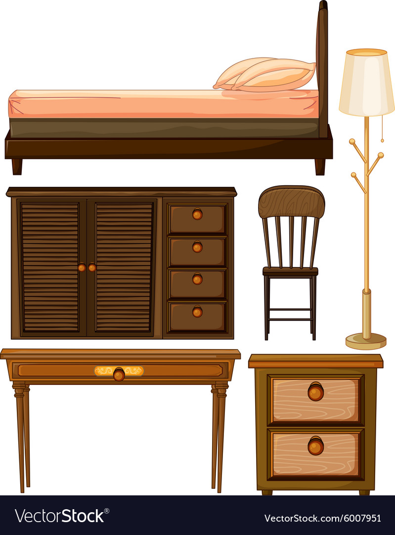 Wooden furniture in classic design vector