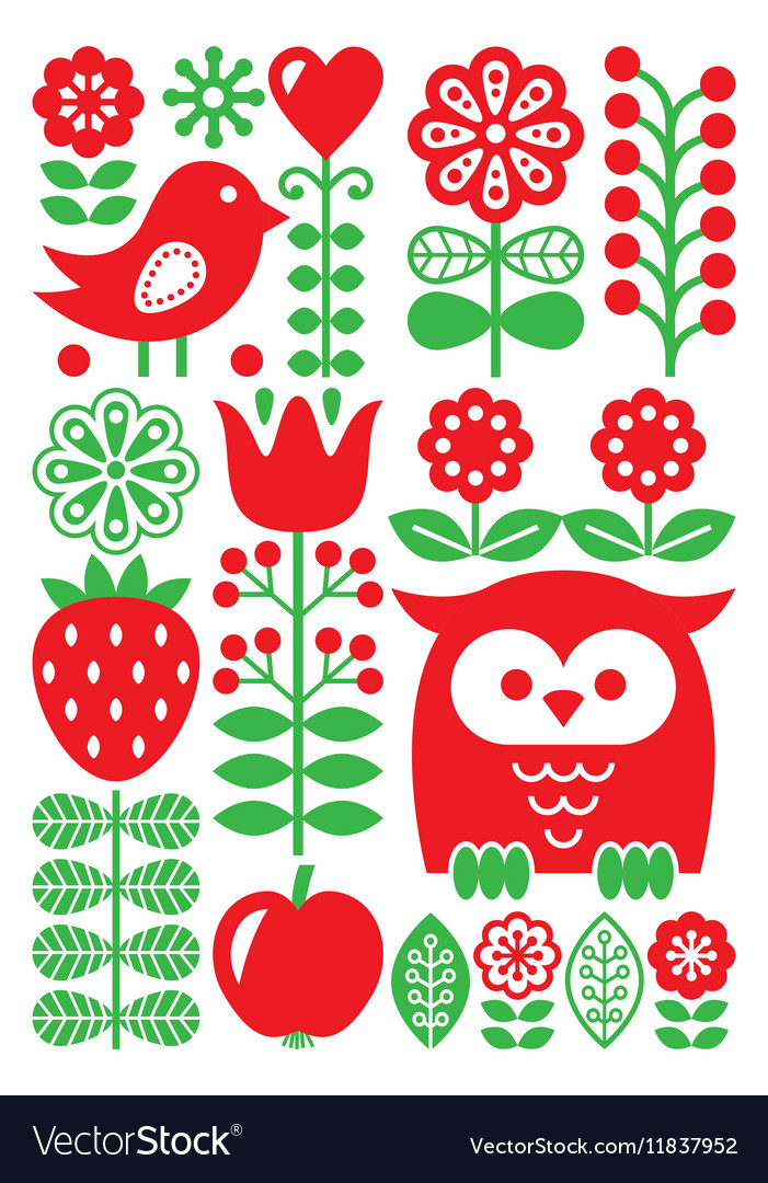Finnish inspired folk art pattern  scandinavian vector