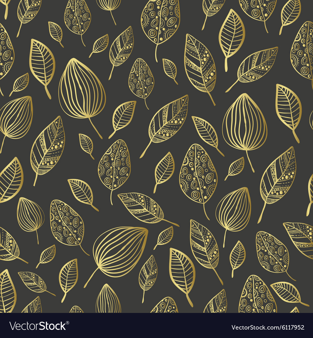 Seamless stylized leaf patterntexture with leaves vector