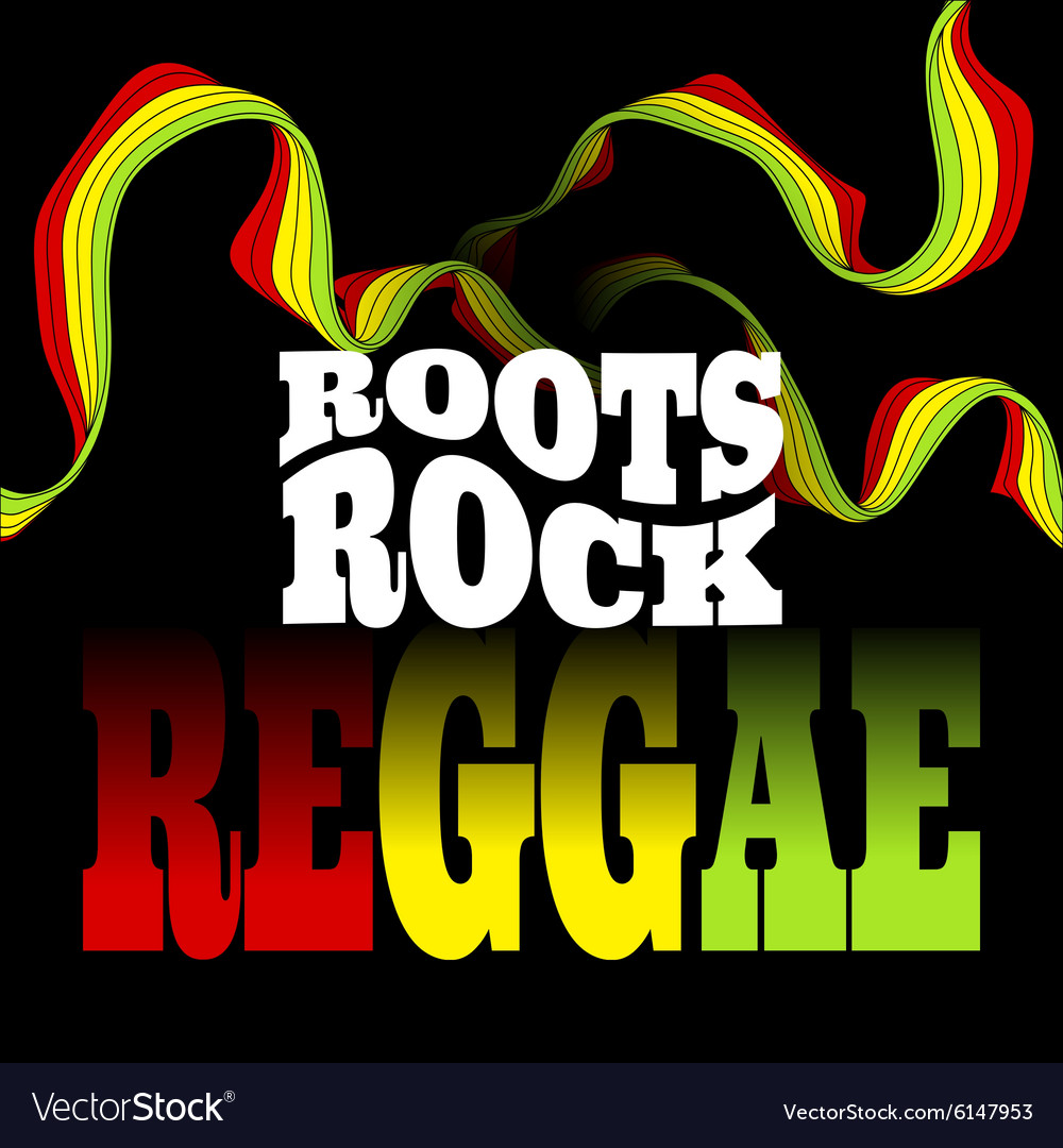 Roots rock reggae music design vector
