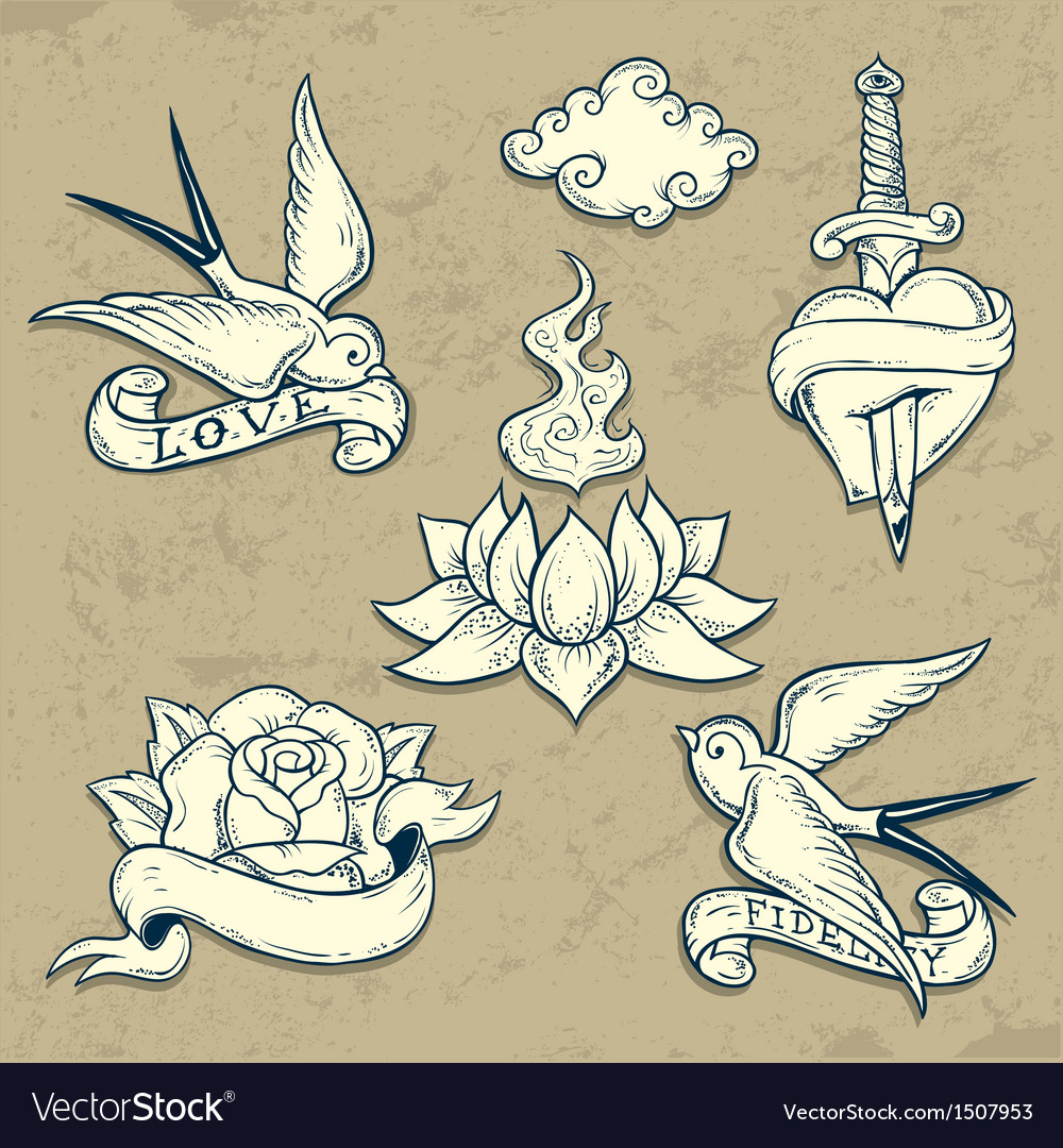 Set of old school tattoo elements with skulls vector