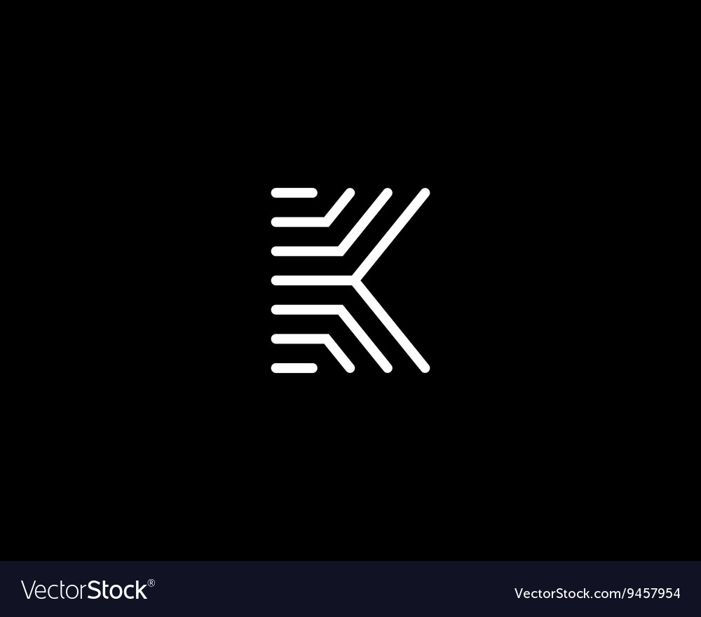 Line letter k logotype abstract moving airy logo vector