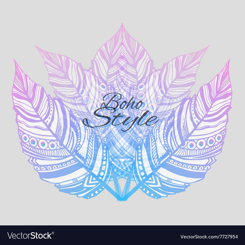 Trendy boho style patterned elements sketch vector