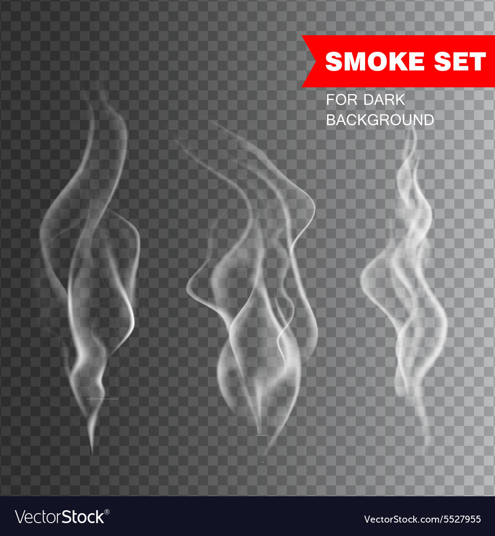 Isolated realistic cigarette smoke vector