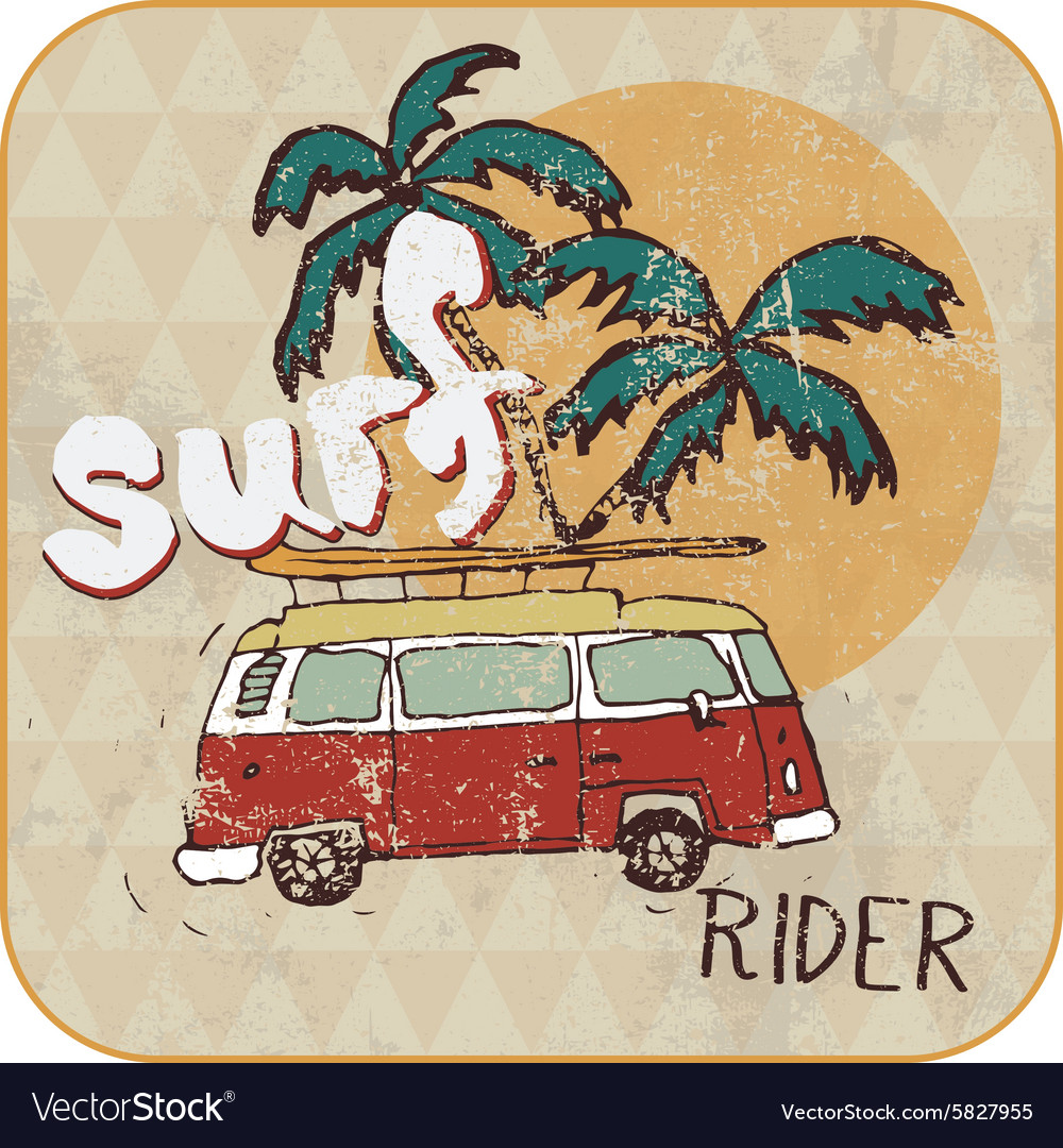 Van surf tshirt graphics vector
