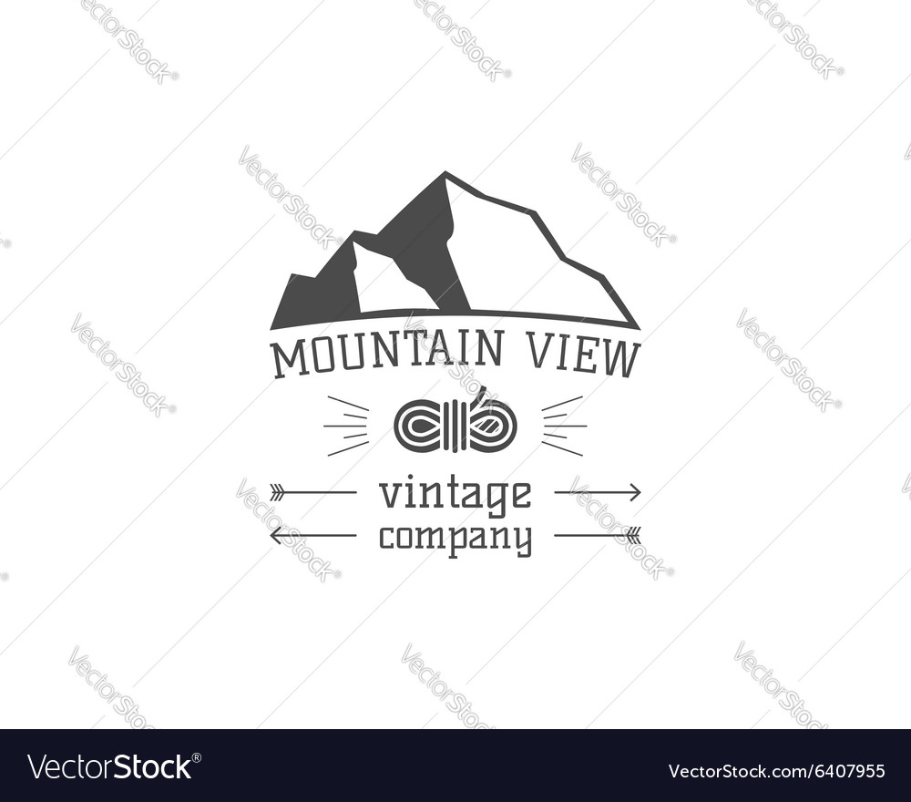 Vintage mountain view climbing hiking camping vector