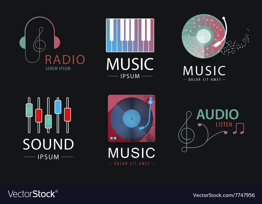 Set of music logos icons signs isolated vector