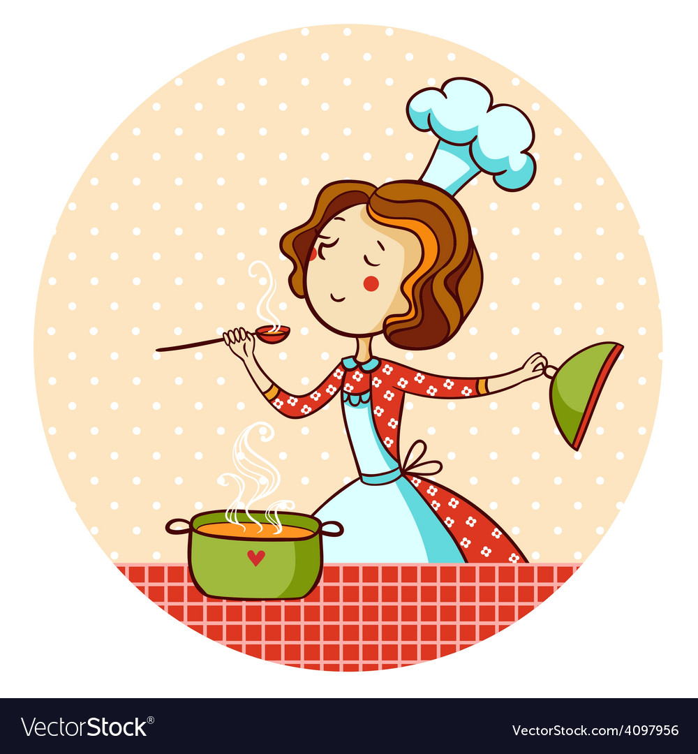 Woman in kitchen cook vector