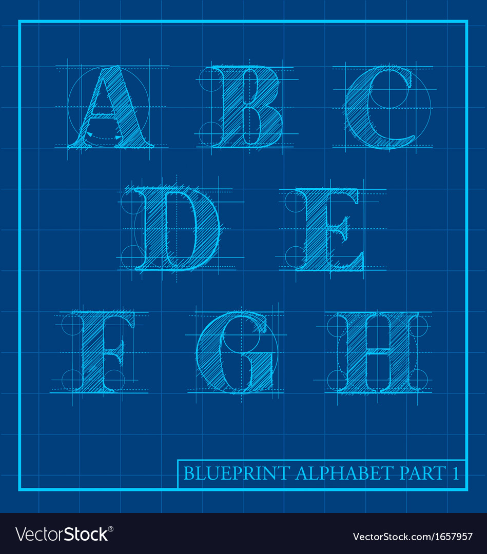 Blueprint style alphabet set 1 vector