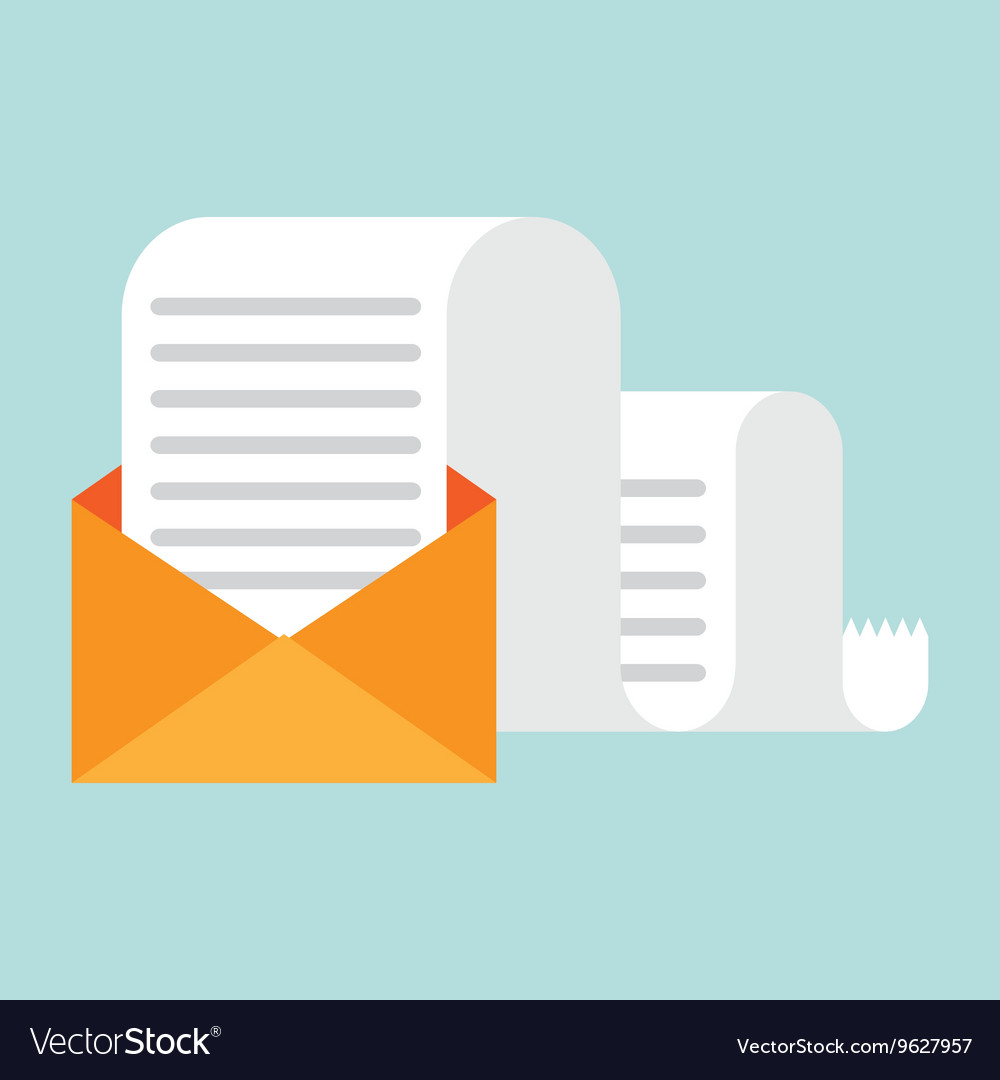 Envelope with long letter message vector