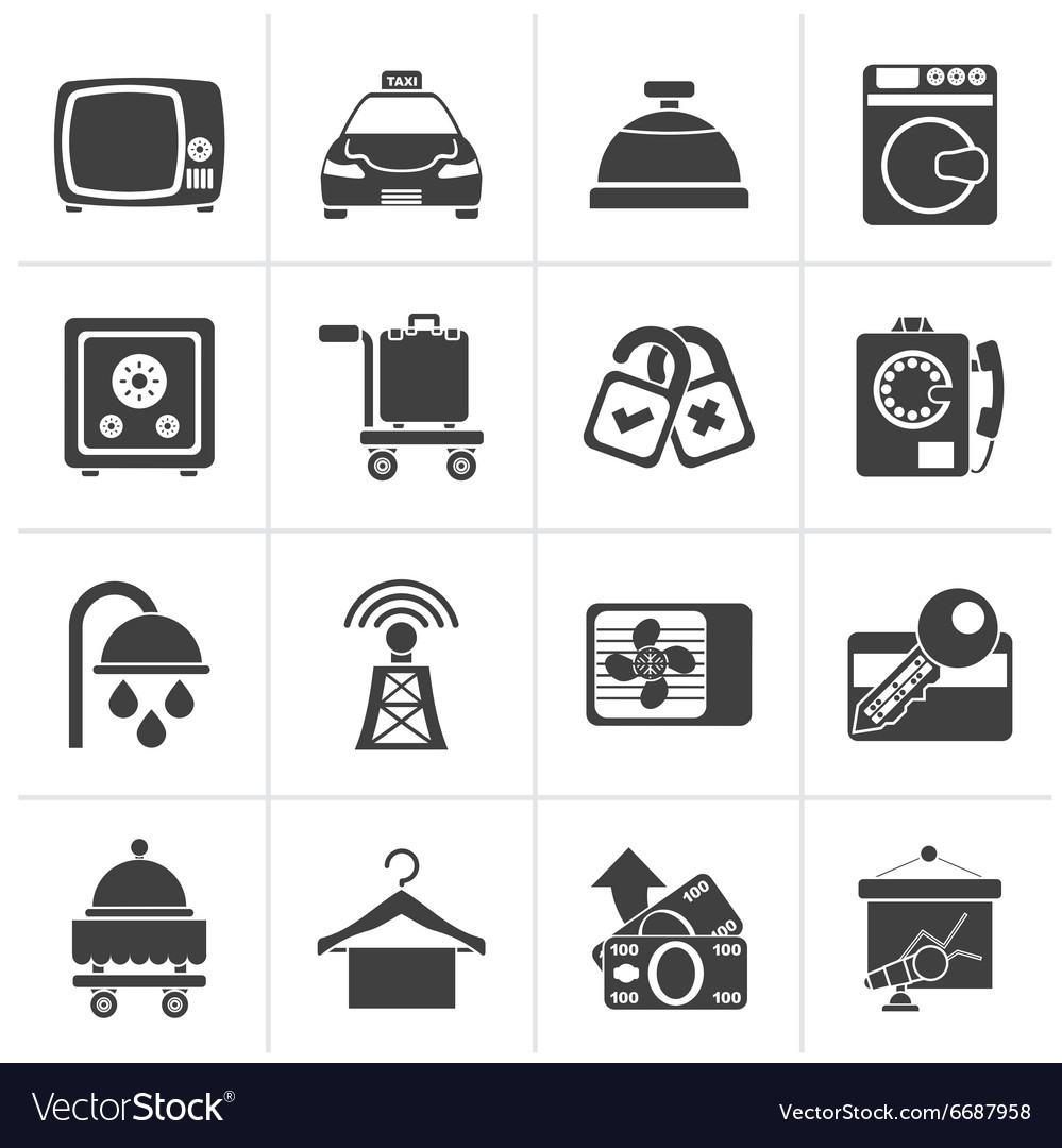 Black hotel and motel room facilities icons  vect vector