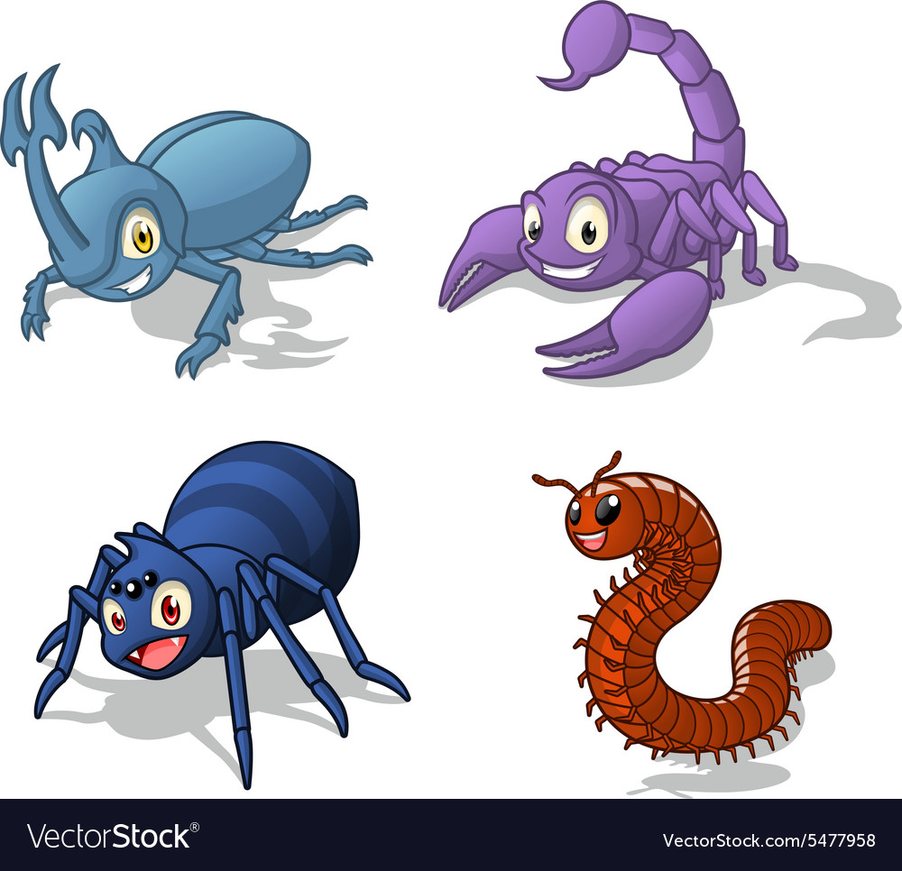 Insect cartoon character pack four vector