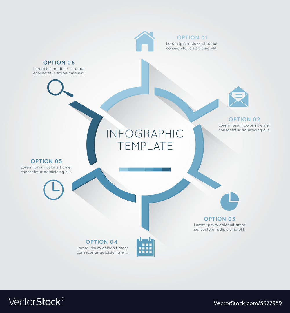 Infographic template circular with six option vector