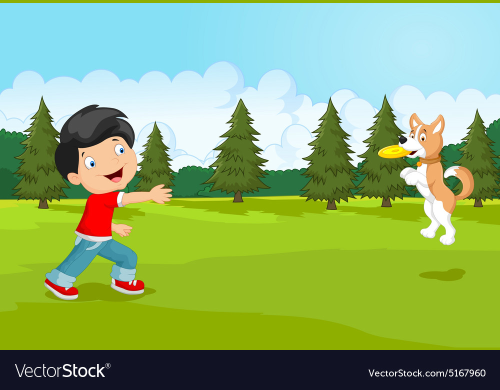 Cartoon boy playing frisbee with his dog vector