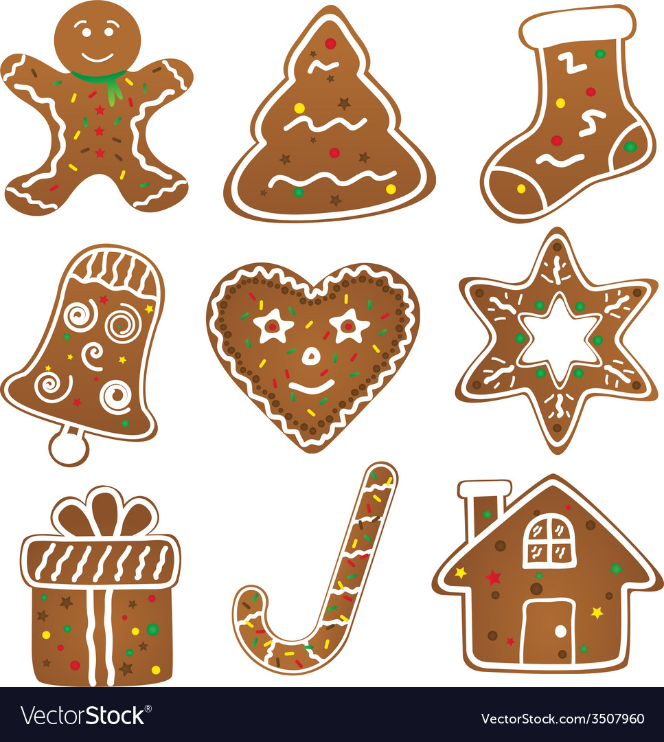 Christmas cookies collection vector